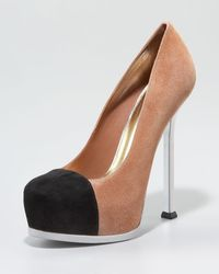 Saint Laurent Tribtoo Cap-toe Pump - Lyst