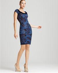 Zac Posen Dress Cap Sleeve Floral Printed - Lyst
