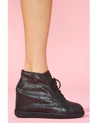Nasty Gal Aversa Wedge Sneaker black - Lyst