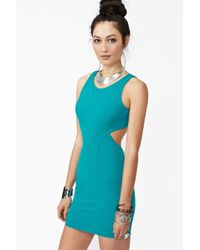 Nasty Gal Envy Cutout Dress Teal blue - Lyst