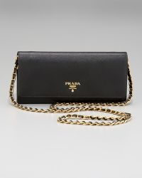 Prada Saffiano Chain Crossbody Wallet - Lyst