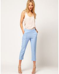 ASOS Collection Asos Linen Pintuck Crop Trouser - Lyst