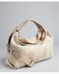 Furla Taupe Woven Elisabeth Convertible Tote - Lyst