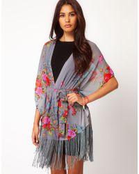 Glamorous Glamorous Floral Fringe Kimono - Lyst