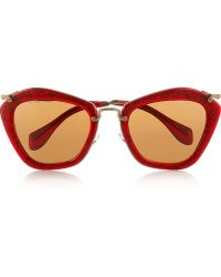Miu Miu Cat Eyeframe Glitter Acetate and Metal Sunglasses - Lyst