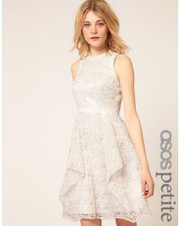 ASOS Collection Asos Petite Exclusive Embroidered Lace Dress with Cut Out Back Detail - Lyst