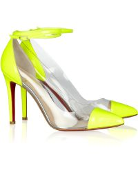 Christian Louboutin Un Bout 100 Patent Leather and Pvc Pumps - Lyst