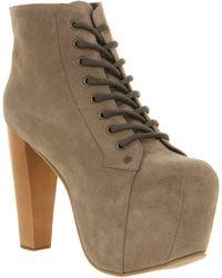 Jeffrey Campbell Lita Platform Ankle Boot Grey Suede - Lyst