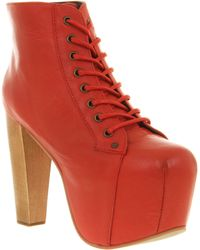 Jeffrey Campbell Lita Platform Ankle Boot Red Leather - Lyst
