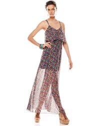 BCBGeneration Sleeveless V-Neck Printed Maxi Dress - Lyst