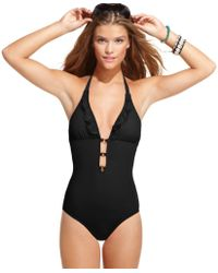Guess Plunge Halter Ruffle One Piece - Lyst