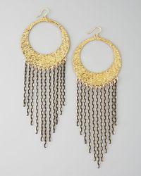 Devon Leigh Fringe Hoop Earrings - Lyst