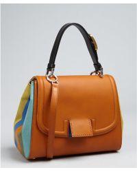 Fendi Camel Leather Striped Side Silvana Flap Crossbody Bag - Lyst