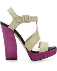 Zara Suede Wide Heel Sandal - Lyst