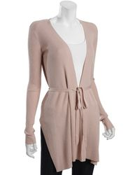 Diane von Furstenberg Dusty Rose Wool Blend Extended Front Wrap Cardigan - Lyst