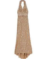 Elie Saab Halterneck Long Beaded Dress - Lyst