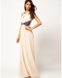 Little Mistress Lace Insert Embellished Maxi Dress - Lyst