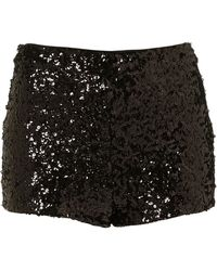 Topshop Black Sequin Knicker Shorts - Lyst
