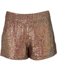 Topshop Premium Sequin Shorts brown - Lyst