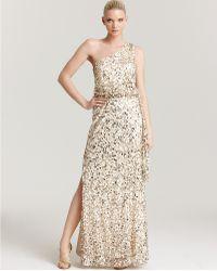 Aidan Mattox Sequin Gown One Shoulder - Lyst