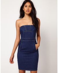 ASOS Collection Asos Indigo Denim Bandeau Dress - Lyst