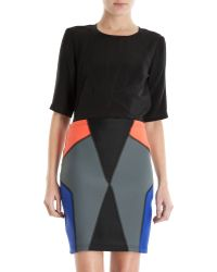 Cynthia Rowley Multicolor Colorblock Skirt - Lyst
