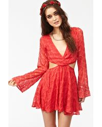 Nasty Gal Valeria Silk Dress red - Lyst