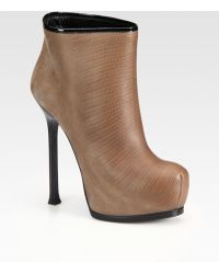 Saint Laurent Lizardembossed Leather Platform Ankle Boots - Lyst