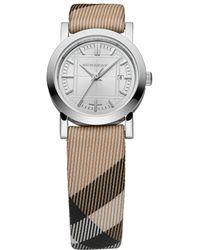 Burberry Womens Swiss Nova Check Fabric Strap 27mm - Lyst