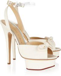 Charlotte Olympia Serena Silk Platform Sandals - Lyst