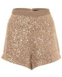French Connection Fast Mini Sequins Shorts gold - Lyst