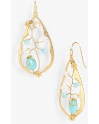 Cara Accessories Open Teardrop Earrings - Lyst