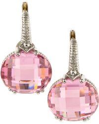 Judith Ripka - Classic Oval Cubic Zirconia Earrings Pink - Lyst