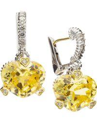 Judith Ripka - Fontaine Heart-Shape Cubic Zirconia Earrings - Lyst