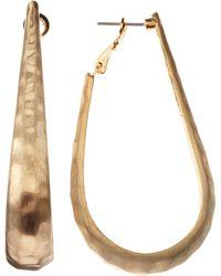 Kenneth Jay Lane Hammered Oval Hoop Earrings - Lyst