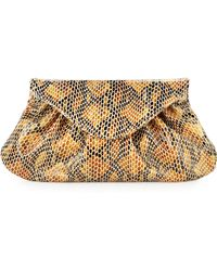 Lauren Merkin Lotte Serpent-Embossed Envelope Clutch Bag - Lyst