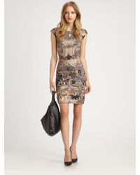 McQ by Alexander McQueen Lace-Print Cap Sleeve Dress gray - Lyst