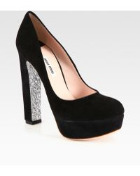 Miu Miu Suede and Glitter Platform Pumps - Lyst