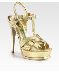 Saint Laurent Tstrap Metallic Leather Sandals - Lyst