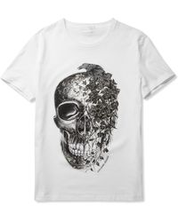 Alexander McQueen Skull and Ivyprint Cotton Tshirt white - Lyst