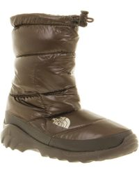 The North Face - Wmns Nuptse Bootie Iii Shiny Brown - Lyst