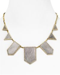 House Of Harlow 1960 14kt Plated Two Tone Engraved Station Necklace  - Lyst