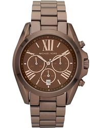 Michael Kors Womens Chronograph Bradshaw Espresso Tone Stainless Steel Bracelet 43mm - Lyst