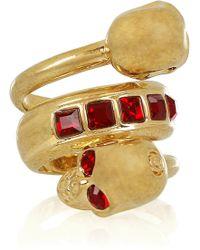 Alexander McQueen Swarovski Crystal Doubleskull Ring gold - Lyst