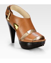 MICHAEL Michael Kors Carla Leather Platform Sandals - Lyst