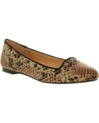 Office Mammal Slip On Nude Snake Print Loafers - Lyst
