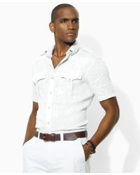 Ralph Lauren Custom fit Short sleeved Linen Military Shirt - Lyst