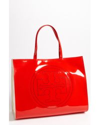 Tory Burch Large Perforated Logo Tote - Lyst