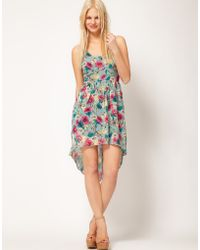 ASOS Collection Floral Print Dress with Dipped Back multicolor - Lyst