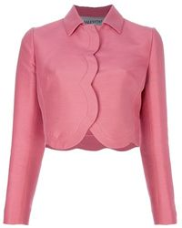 Valentino Cropped Scalloped Trim Jacket pink - Lyst